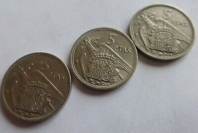 Spanish Coins X 5, Five Pesetas All 1957 With General Franco • 2£
