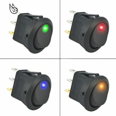 Round Rocker Switch ON/OFF LED Illuminated Car Dashboard Dash Boat Van 12V • 1.95£