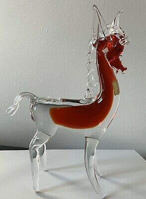 Vintage Archimede Seguso Murano Glass Horse Perfect Cond - Ruby Red. Labelled • 49£