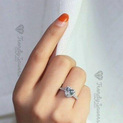 925 Sterling Silver Filled Heart Rings For Women Love Romantic Bridal Wedding  • 3.99£
