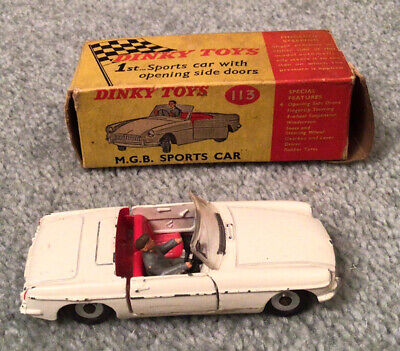 Vintage Dinky Model 113 Boxed White MGB Sports Car • 7.63£