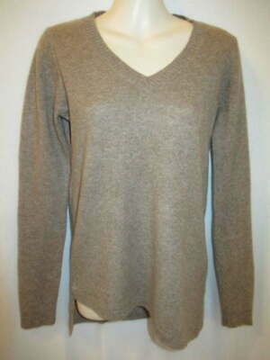 $19.95 • Buy Quinn 100% Cashmere Brown V-Neck Sweater M May Fit Small