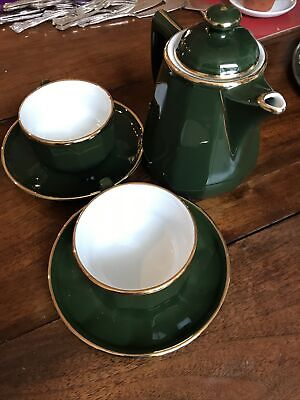 Green French Large Coffee Cups And Matching Coffee Pot • 10£