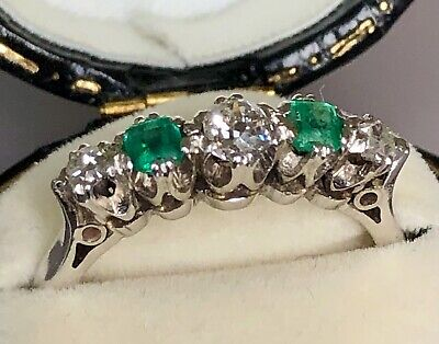 Lovely Antique 0.65 Carat Emerald & Old Cut Diamond 5 Stone Ring 18ct Gold 18k • 695£
