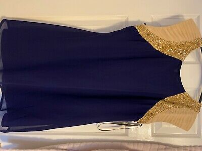 Little Mistress Dress Size 18 Navy With Gorgeous Gold Embellished Shoulders • 8£