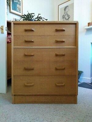 G Plan E Gomme Brandon Blonde Oak 50s Tallboy Chest Of Drawers  Collect TF1 • 45£