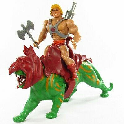 $99.99 • Buy MOTU Vintage He-Man & Battle Cat Lot Of 2 Near Complete Master's Of The Universe
