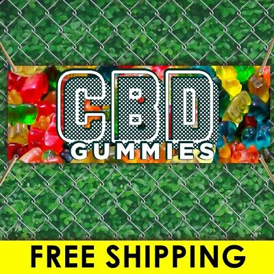$15.69 • Buy CBD GUMMIES Advertising Vinyl Banner Flag Sign Many Sizes With FREE GROOMETS