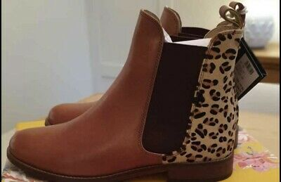 Joules Tan Brown Leather Leopard Westbourne Chelsea Ankle Boots Size 5 • 56£