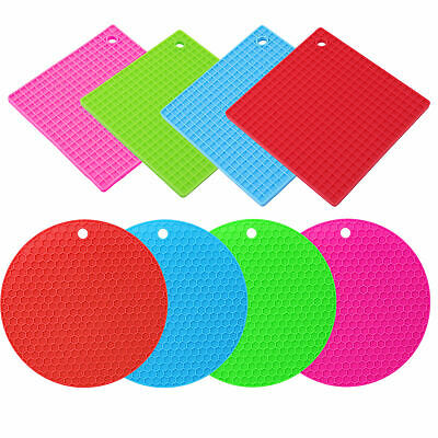 £2.49 • Buy HEAT RESISTANT SILICONE TRIVET Square Round Mat Pan Pot Holder Non Slip Pad Fry