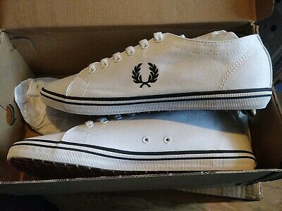 Fred Perry Kingston Twill Plimsolls Trainers  Casual Shoes B6259-183 White UK 7 • 29.99£