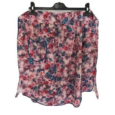 Vintage Apron Floral Cotton Half Apron / Pinny With Pocket And Frills • 2.99£