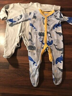 Baby Boys Age 3-6 Months Next & Nutmeg 2 X Baby Grow Sleepsuit Integrated Mitts • 2£