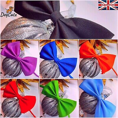 Pet Dog Cat Bow Tie, Neck Collar, Small To Large Pets, Adjustable, Puppy Kitten • 1.99£