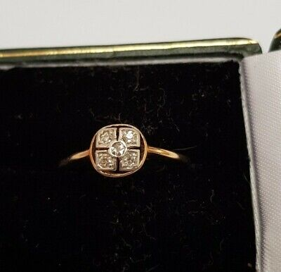 Antique Art Deco18ct Yellow Gold And 5 Diamond Ring UK Q • 195£
