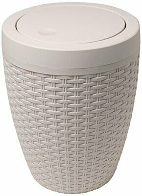 Addis Faux Rattan Round Bathroom Bin With Swing Lid • 16.99£
