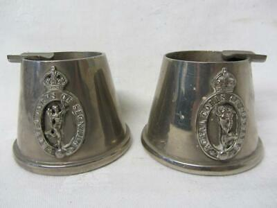 Pair Of Metal Royal Corps Of Signals Ashtrays • 24.99£