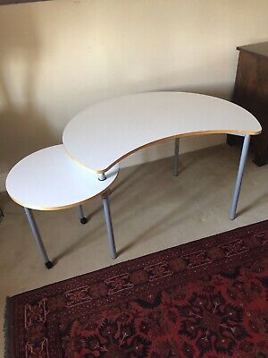 Ikea Computer Desk With Slide Away Side Round Table On Wheels • 10£