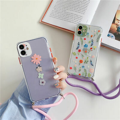 AU11.95 • Buy Cute Flower Crossbody Rope Strap Phone Case For IPhone 12 11 Pro Max 7 8 Plus X