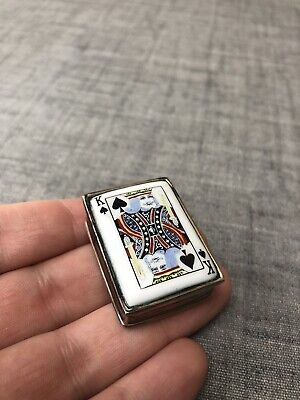 Vintage Solid Silver Playing Card Silver Enamel Pill Snuff Box CME • 29£