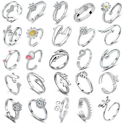 £1.95 • Buy Womens 925 Sterling Silver Rings Adjustable Thumb Wedding Engagement Gift