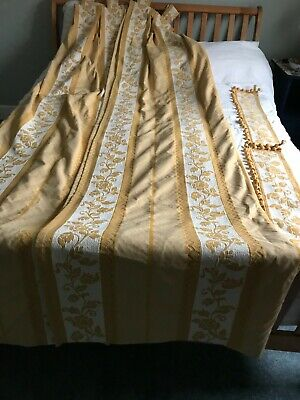 Pair Of Long Tab Top Gold Curtains With Tie Backs • 8.27£