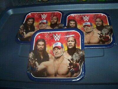 3 Packs Of WWE Party Plates - 9 Inch Plates Sealed  The Rock  John Cena • 11.44£