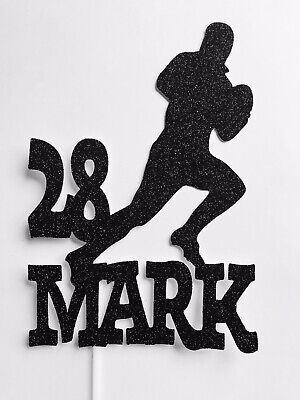 """£7 • Buy Personalised 8"""" Rugby Player Name & Age Birthday Cake Topper Decoration"""