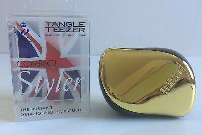 Original Tangle Teezer Compact - Gold & Black - Styler Detangling Hairbrush NEW • 6.95£