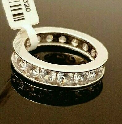 Ladies 925 Sterling Silver Simulated Diamond Full Eternity Band Ring Size M • 16.95£