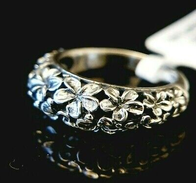 Ladies Oxidised 925 Sterling Silver Floral Flower Band Ring Size R • 16.95£