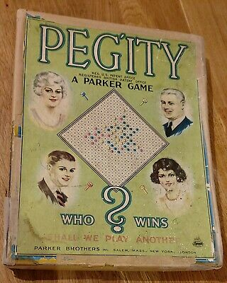Vintage Parker Brothers Pegity Peg Game (circa 1930s) Original Box But Damaged • 2.50£
