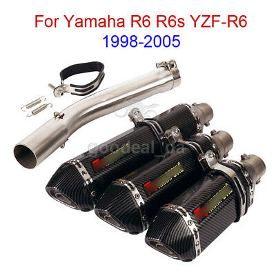 $115.50 • Buy For Yamaha YZF-R6 R6s 1998-2005 Exhaust System Mid Link Pipe Slip On Muffler Tip