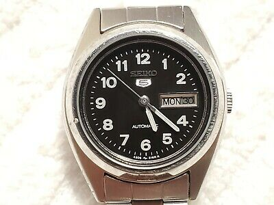 $ CDN32.35 • Buy Seiko 5 Automatic Day Date Watch Black Dial Stainless Steel Seventeen Jewels