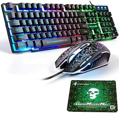 AU40.89 • Buy Rainbow LED Gaming Keyboard And Mouse Combo Ergonomic For PC Laptop PS4 Xbox One