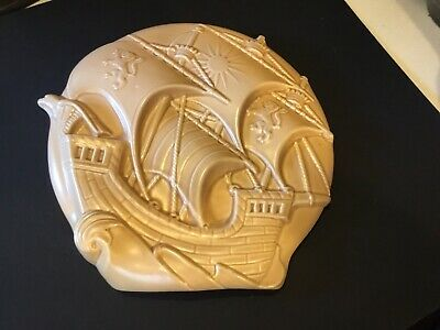 Art Deco Burgess & Leigh, Burleigh Ware, Pottery  Galleon  Wall Plaque. Large.  • 30£