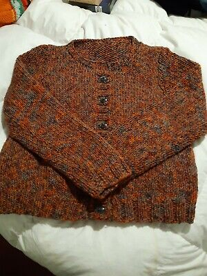 Gorgeous Hand Knitted Chunky Cardigan Shades Of Orange And Grey Size 12-16 Very • 12£
