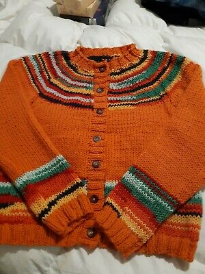 Gorgeous Chunky Hand Knitted Cardigan Size 12-16  • 12£