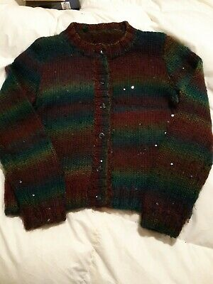 Gorgeous Hand Knitted Chunky Cardigan With Dark Sequin Detail Size 12 • 12£