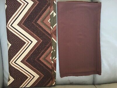 Brown Aztec Print Polyester Fabric With Stretch And Gold Shimmer • 5£