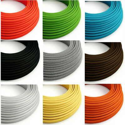 High Quality Vintage Fabric Braided 2 /3 Core Round Lighting Flex Lamp Cord Wire • 2.93£