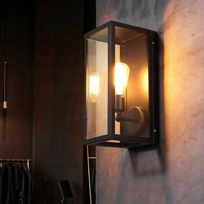 Rectangular Wall Light Lantern Vintage Style Indoor Outdoor Garden Wall Lamp • 25.99£