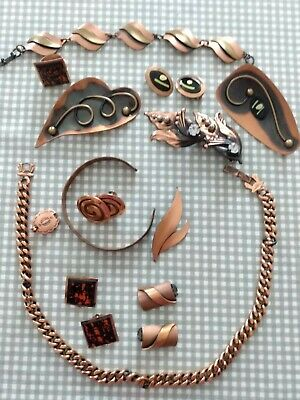 $ CDN46.44 • Buy Vintage Copper Jewelry Lot 13 Pieces FREE SHIP