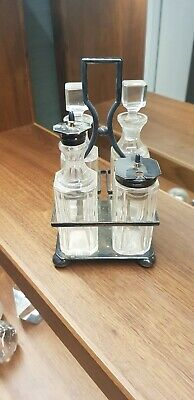 Antique Cruet Condiment Set, Silver Plated & Crystal & With Stand • 33£