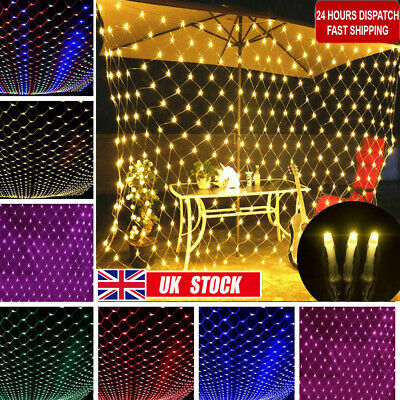 LED Net String Fairy Lights Curtain Mesh Xmas Tree Party Home Outdoor Indoor Dec • 8.29£