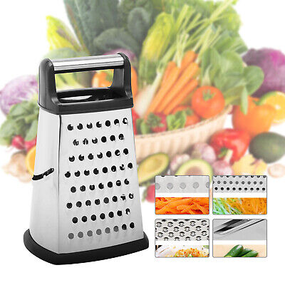 £6.69 • Buy 4 Sided Manual Cheese Grater Stainless Steel Vege Grater With Container Box Tray