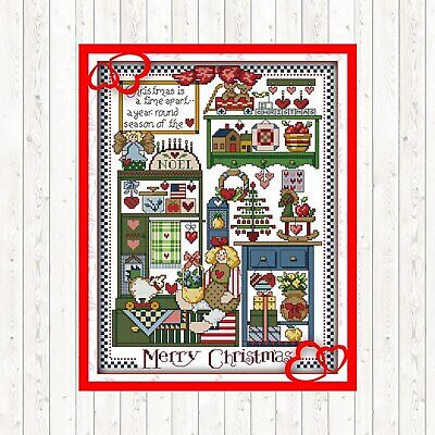 MERRY CHRISTMAS COUNTED CROSS STITCH KIT 14 COUNT AIDA FINISHED SIZE 33x42CM • 9.99£