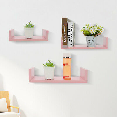 Set Of 3 Floating Shelves Wall Mounted Storage Display Shelf Kit Home Decor New • 11.99£