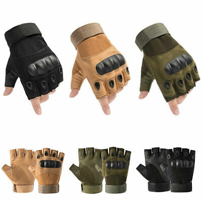 AU14.99 • Buy Tactical Hard Knuckle Half Finger Gloves Army Military Airsoft Work Fingerless