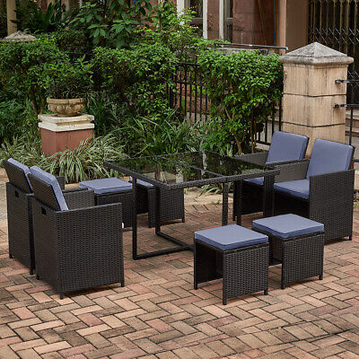 £359.99 • Buy 9 Pieces Rattan Garden Furniture Set Black Brown Grey Dining Chairs Table